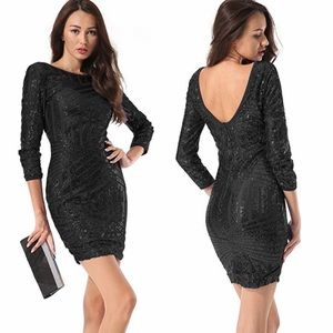 Black Sequin Glitter Bodycon Cocktail Party Dress